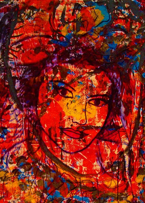 Portrait Greeting Card featuring the painting Self-portrait-5 by Natalie Holland