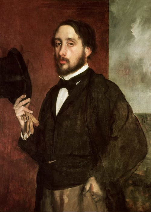Self Portrait Greeting Card featuring the painting Self Portrait by Edgar Degas
