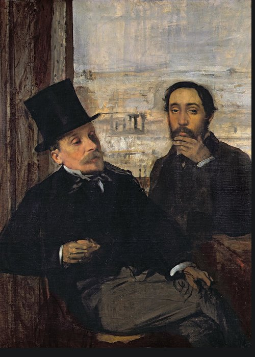 Self Portrait With Evariste De Valernes (1816-96) C.1865 (oil On Canvas) By Edgar Degas (1834-1917) Greeting Card featuring the painting Self Portrait With Evariste De Valernes by Edgar Degas