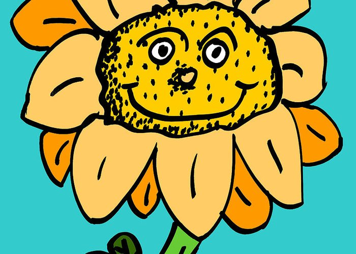 Sunflower Flowers Garden Cute Cartoon Portrait Character Creature Talking Smiling Face Seeds Grow Greeting Card featuring the drawing Senny The Sunflower by Jera Sky