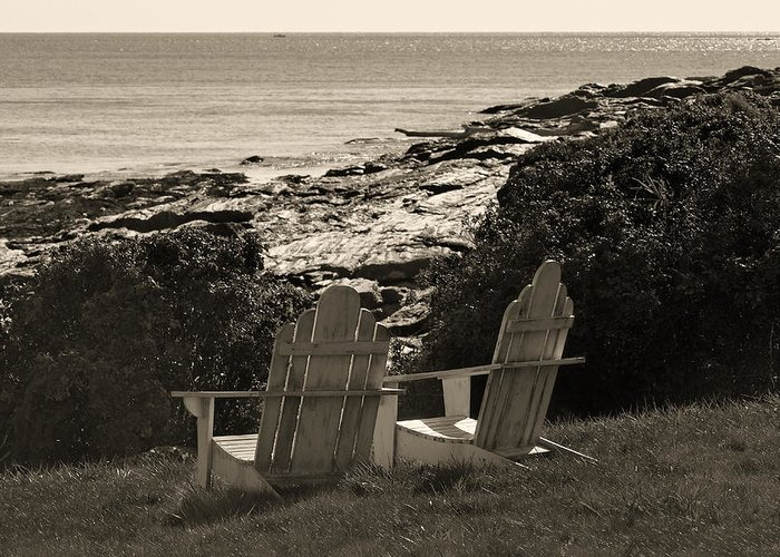 Chairs Greeting Card featuring the photograph Sepia Seaside Retreat by Lone Dakota Photography