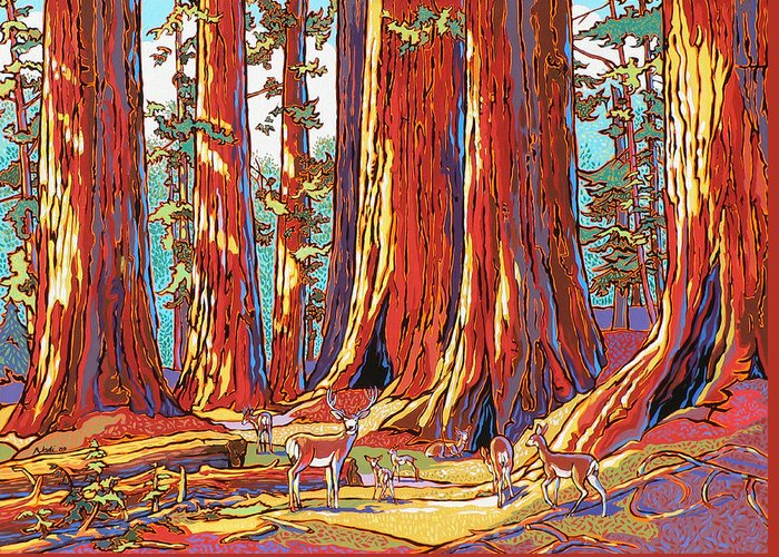 Sequoia Trees Greeting Card featuring the painting Sequoia Deer by Nadi Spencer