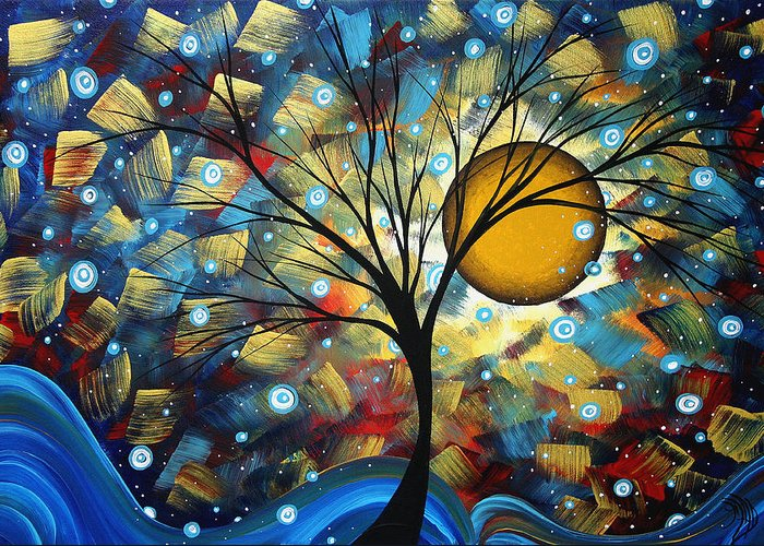 Abstract Greeting Card featuring the painting Serenity Falls By Madart by Megan Duncanson