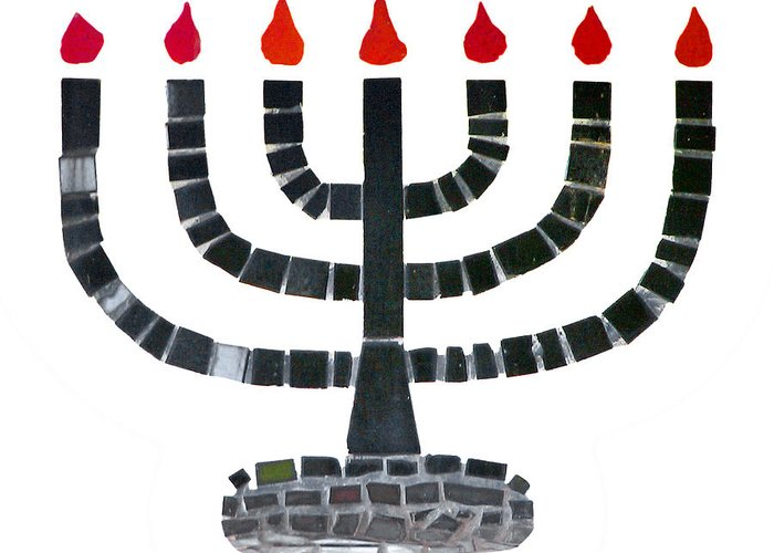 Menorah Greeting Card featuring the photograph Seven-branched Temple Menorah by Christine Till