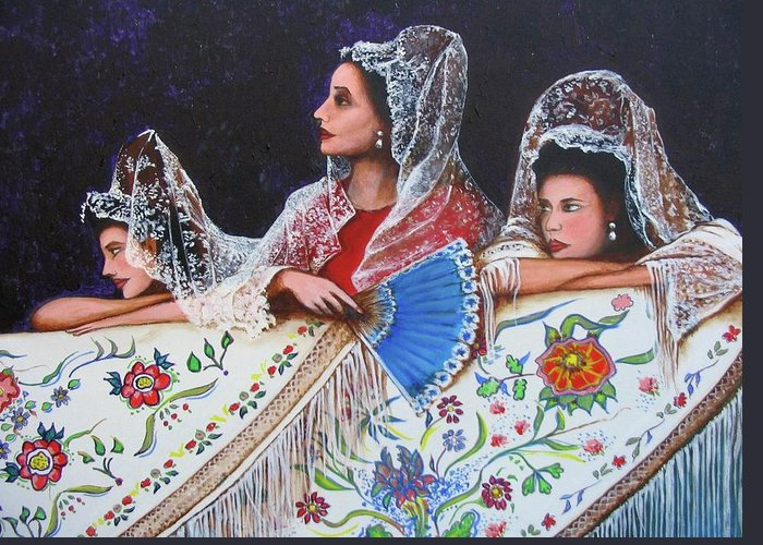 Beauty Again Greeting Card featuring the painting Sevilla's Ladies by Jorge Parellada