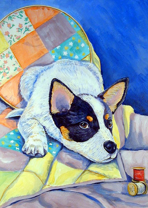 Australian Cattle Dog Greeting Card featuring the painting Sew Sweet by Lyn Cook