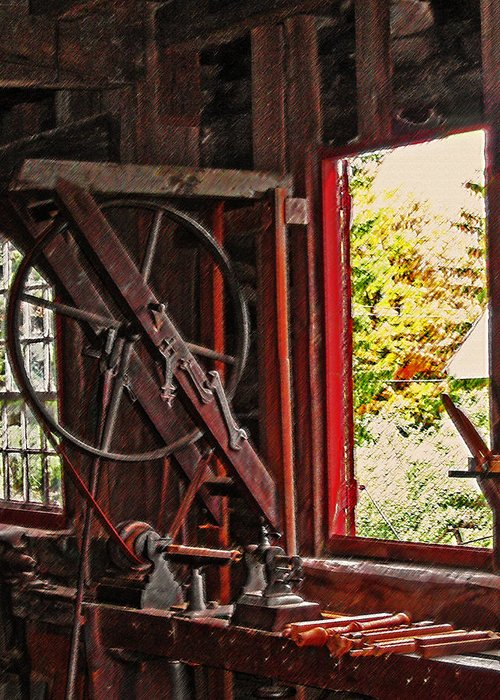 Shakers Greeting Card featuring the photograph Shakers Woodshop by Steve Ohlsen