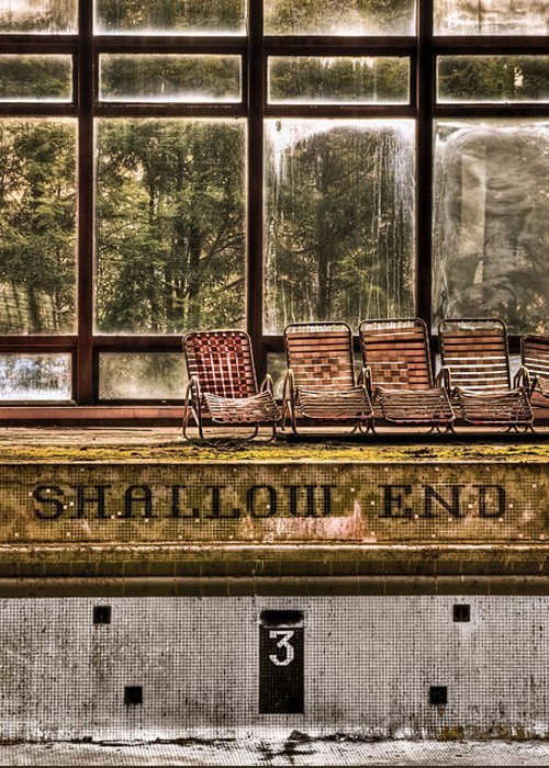 Abandoned Greeting Card featuring the photograph Shallow End by Evelina Kremsdorf
