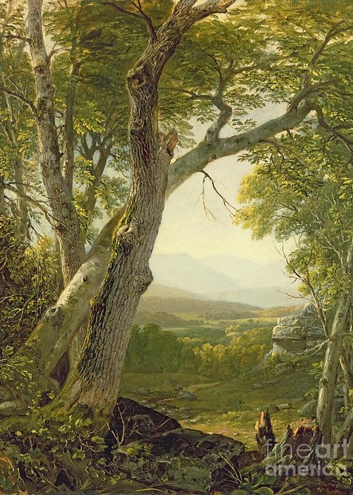 American Landscape; View; Romantic; Hudson River School; Mountains Greeting Card featuring the painting Shandaken Ridge - Kingston by Asher Brown Durand