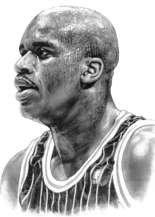 Shaq O'neal Greeting Card featuring the drawing Shaq O'neal by Harry West