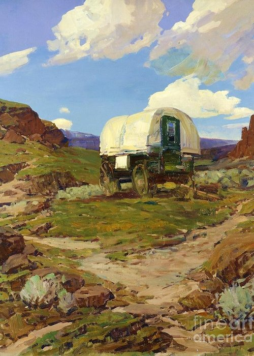 Pd Greeting Card featuring the painting Sheep Wagon by Pg Reproductions