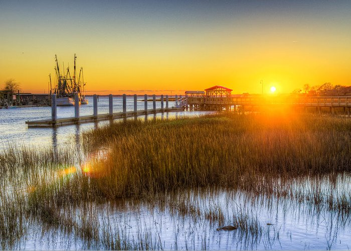 South Greeting Card featuring the photograph Shem Creek Sunset - Charleston Sc by Drew Castelhano