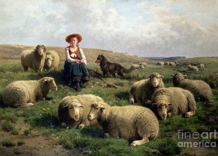 Shepherdess With Sheep In A Landscape By C. Leemputten (1841-1902) And Gerard Greeting Card featuring the painting Shepherdess With Sheep In A Landscape by C Leemputten and T Gerard