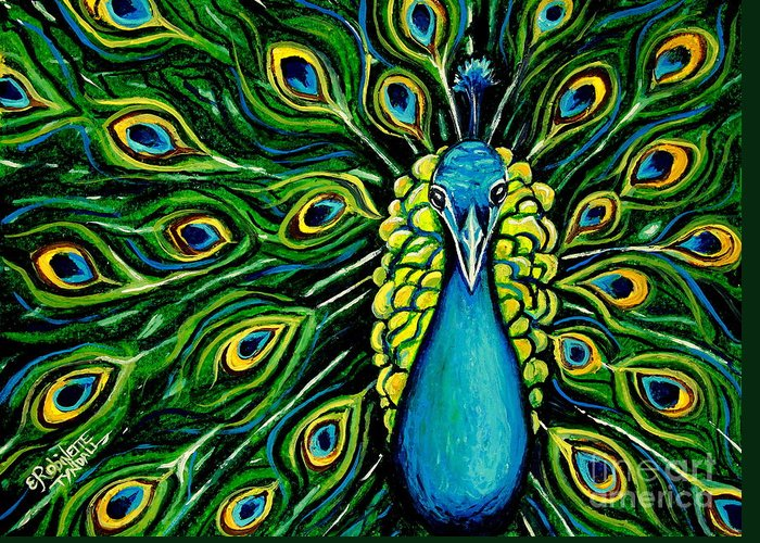 Peacock Greeting Card featuring the painting Shimmering Feathers Of A Peacock by Elizabeth Robinette Tyndall
