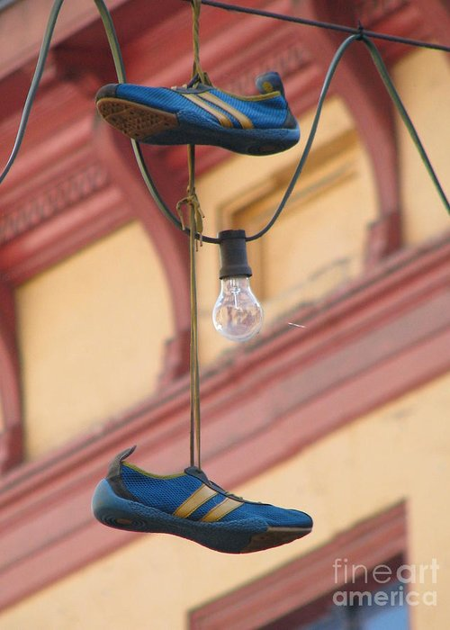 Shoes Greeting Card featuring the photograph Shoes Hanging by Jeff White