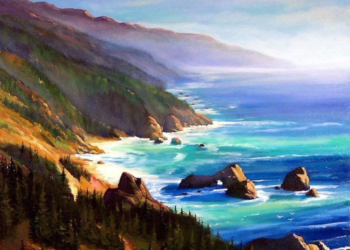 Seascape Greeting Card featuring the painting Shore Trail by Frank Wilson