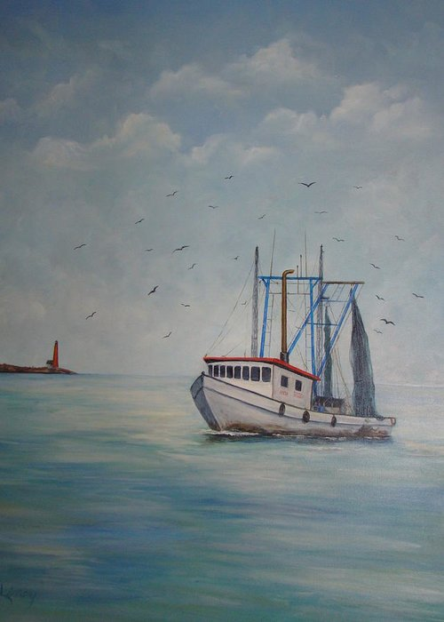 Shrimp Boat Greeting Card featuring the painting Shrimp Boat by Carolyn Speer