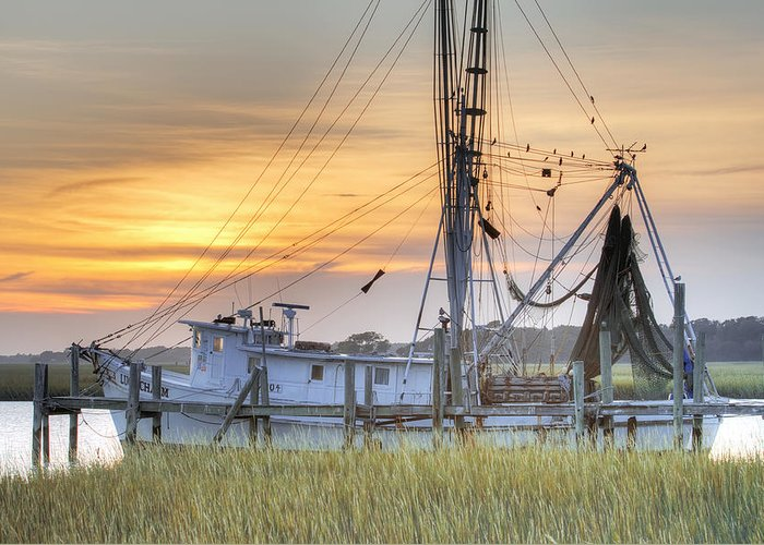 Shrimp Greeting Card featuring the photograph Shrimp Boat Sunset Charleston Sc by Dustin K Ryan
