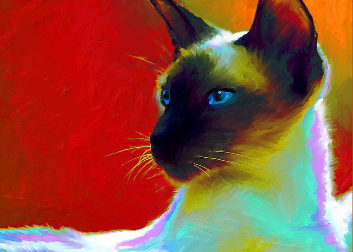 Siamese Cat Art Greeting Card featuring the painting Siamese Cat 10 Painting by Svetlana Novikova