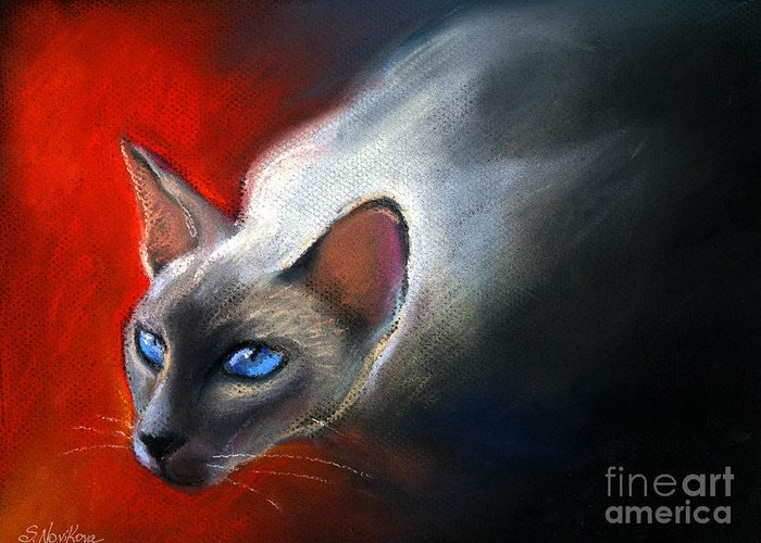 Siamese Cat Portrait Greeting Card featuring the painting Siamese Cat 7 Painting by Svetlana Novikova