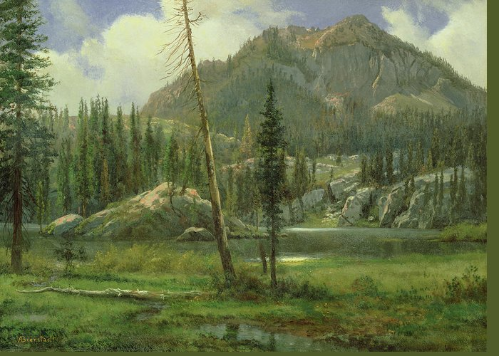 Bierstadt Greeting Card featuring the painting Sierra Nevada Mountains by Albert Bierstadt