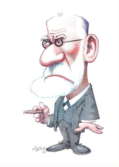 Portrait Greeting Card featuring the photograph Sigmund Freud, Caricature by Gary Brown
