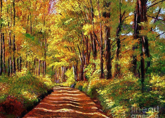 Autumn Greeting Card featuring the painting Silence Is Golden by David Lloyd Glover