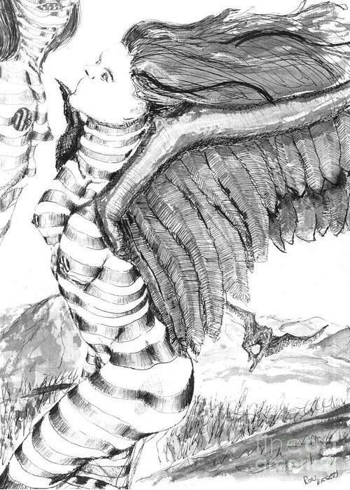 Surreal Greeting Card featuring the drawing Silent Flight by Ron Bissett