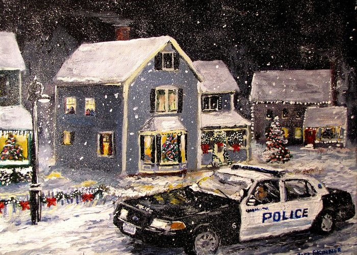 Snow Greeting Card featuring the painting Silent Knight by Jack Skinner