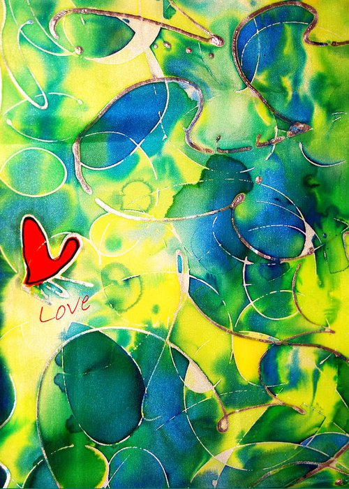 Abstract Greeting Card featuring the painting Silk Painting With A Heart by Alexandra Jordankova