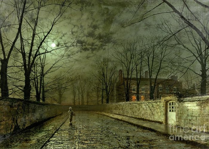 Silver Moonlight Greeting Card featuring the painting Silver Moonlight by John Atkinson Grimshaw