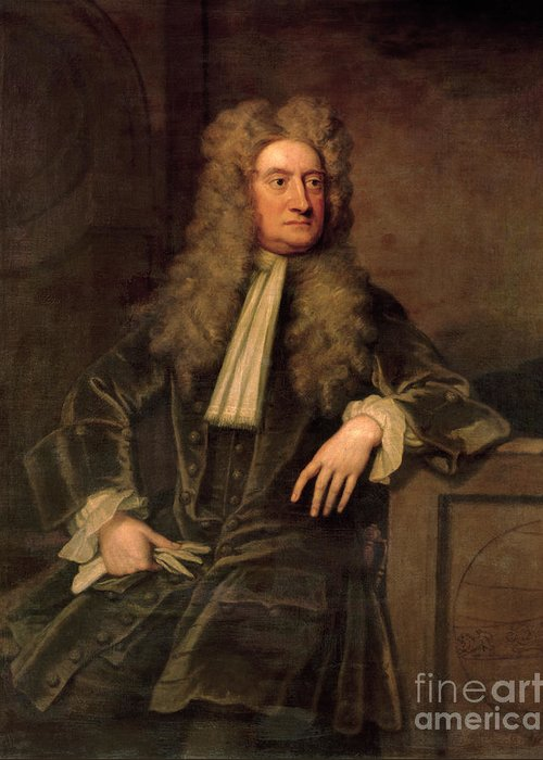 Sir Greeting Card featuring the painting Sir Isaac Newton by Sir Godfrey Kneller