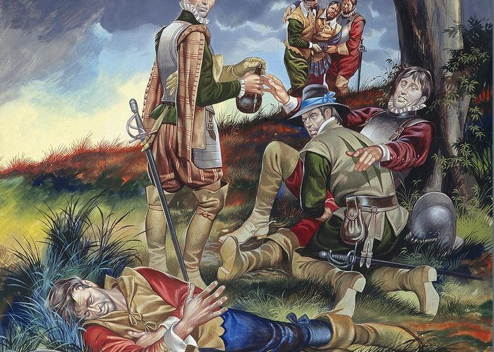 Sir Greeting Card featuring the painting Sir Philip Sidney At The Battle Of Zutphen by Ron Embleton