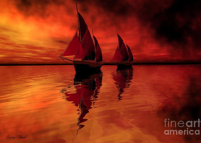 Sailing Greeting Card featuring the painting Siren Song by Corey Ford