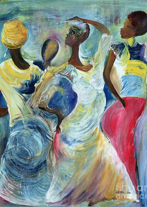 African Greeting Card featuring the painting Sister Act by Ikahl Beckford