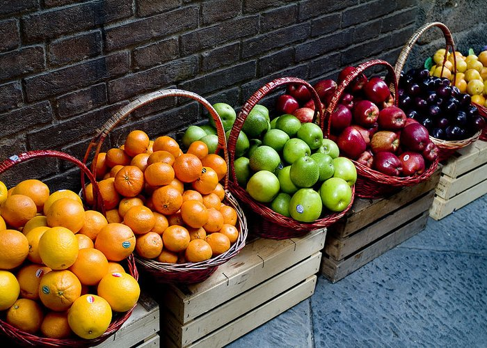 Fruit Greeting Card featuring the photograph Six Baskets Of Assorted Fresh Fruit by Todd Gipstein