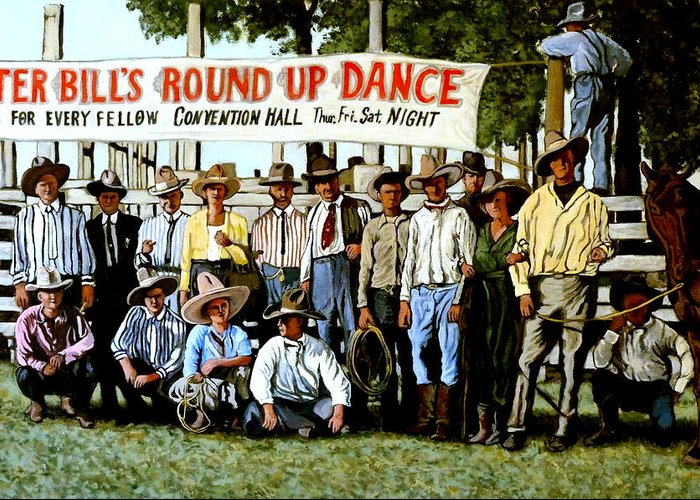 Bull Greeting Card featuring the painting Skeeter Bill's Round Up by Tom Roderick
