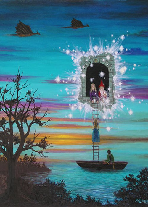 Fantasy Greeting Card featuring the painting Sky Window by Roz Eve