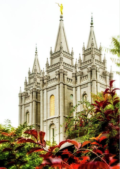 Greeting Card featuring the photograph Slc Temple Angle by La Rae Roberts
