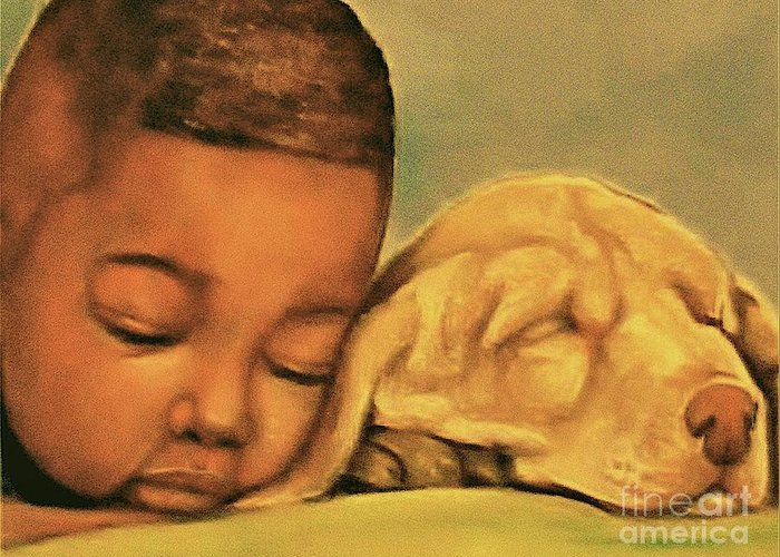 Babies Greeting Card featuring the pastel Sleeping Beauties by Curtis James