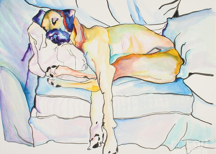 Great Dane Greeting Card featuring the painting Sleeping Beauty by Pat Saunders-White