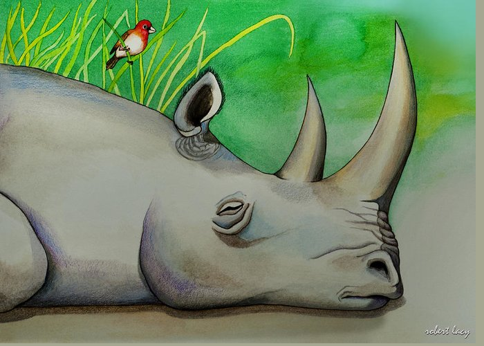 Rhinoceros Greeting Card featuring the painting Sleeping Rino by Robert Lacy