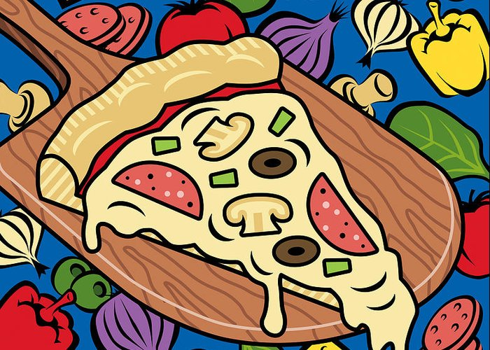 Pizza Greeting Card featuring the digital art Slice Of Pie by Ron Magnes