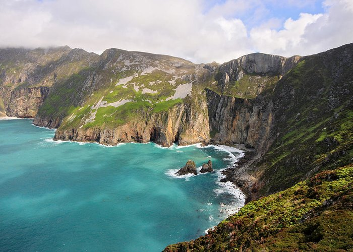 Slieve League Greeting Card featuring the photograph Slieve League Donegal Ireland by Pierre Leclerc Photography