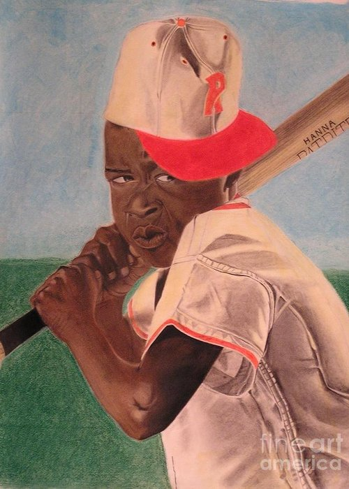 Pastel Portriats Greeting Card featuring the pastel Slugger by Wil Golden