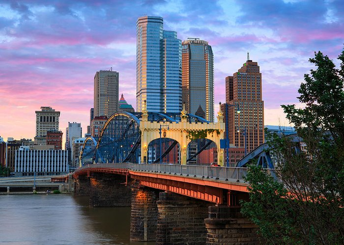 Pittsburgh Skyline Greeting Card featuring the photograph Smithfield Street Bridge by Emmanuel Panagiotakis