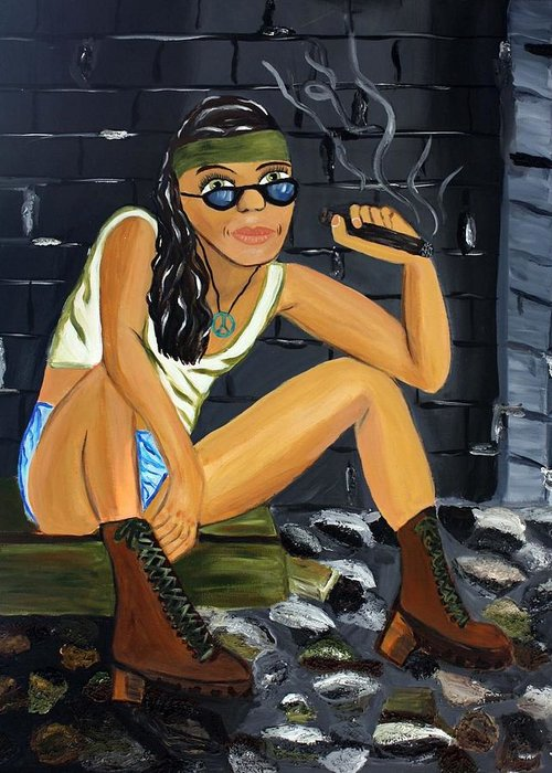 Smoke Greeting Card featuring the painting Smoke Break by Victoria Johns