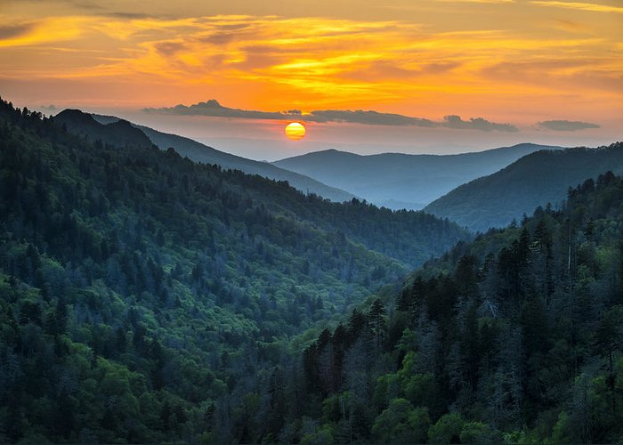 Great Smoky Mountains Greeting Card featuring the photograph Smoky Mountains Sunset - Great Smoky Mountains Gatlinburg Tn by Dave Allen