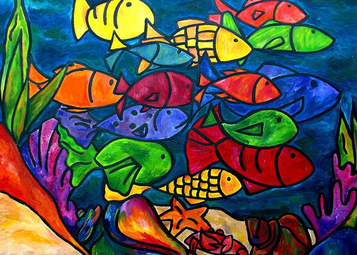 Fish Greeting Card featuring the painting Snorkeling Off Norman Island by Patti Schermerhorn