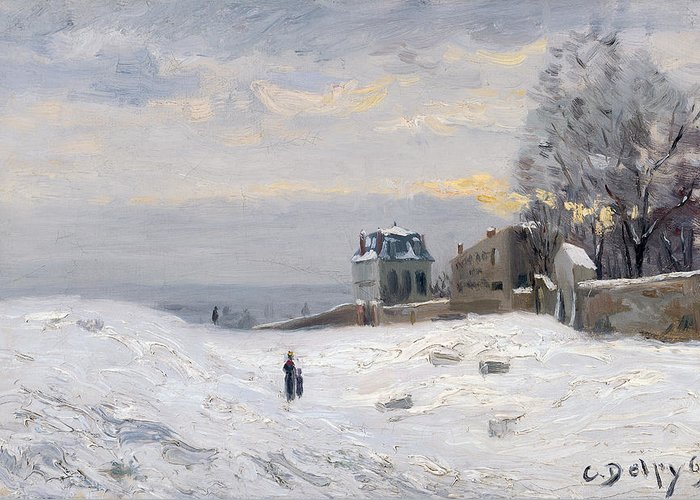 Snow Greeting Card featuring the painting Snow At Montmartre by Hippolyte Camille Delpy